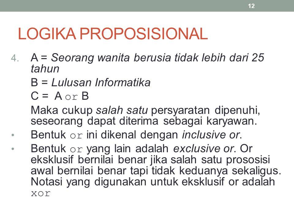 LOGIKA PROPOSISIONAL A = Seorang wanita berusia tidak lebih dari 25 tahun. B = Lulusan Informatika.
