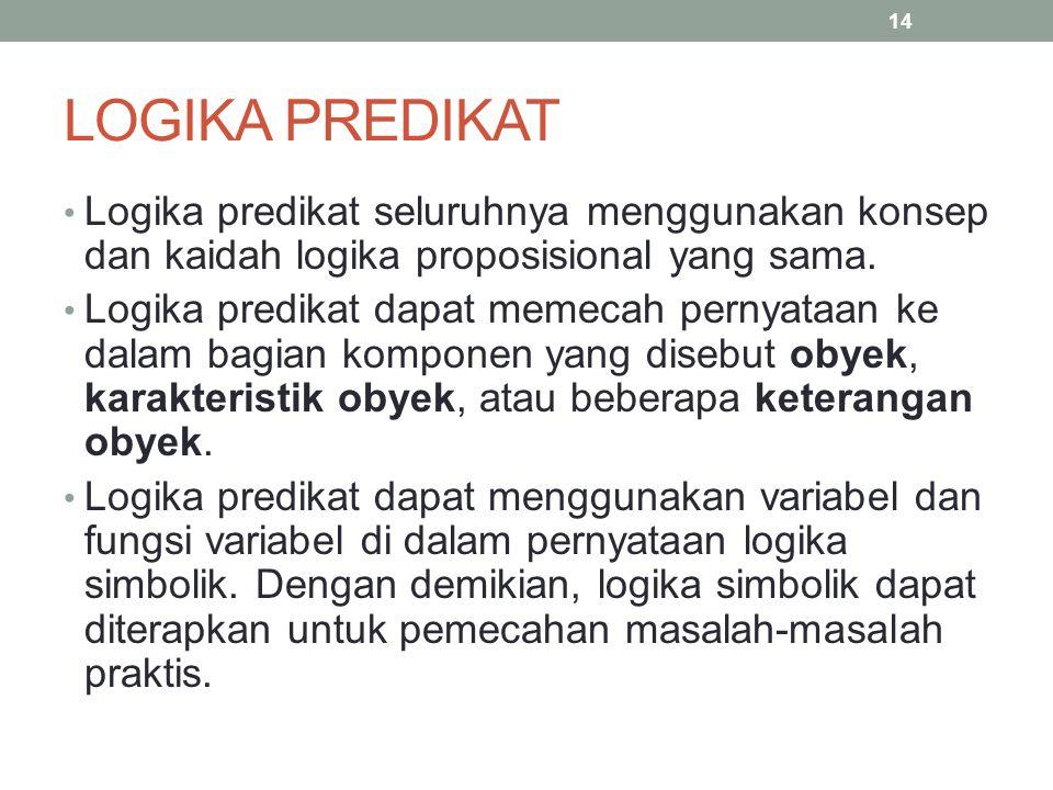 LOGIKA PREDIKAT Logika predikat seluruhnya menggunakan konsep dan kaidah logika proposisional yang sama.