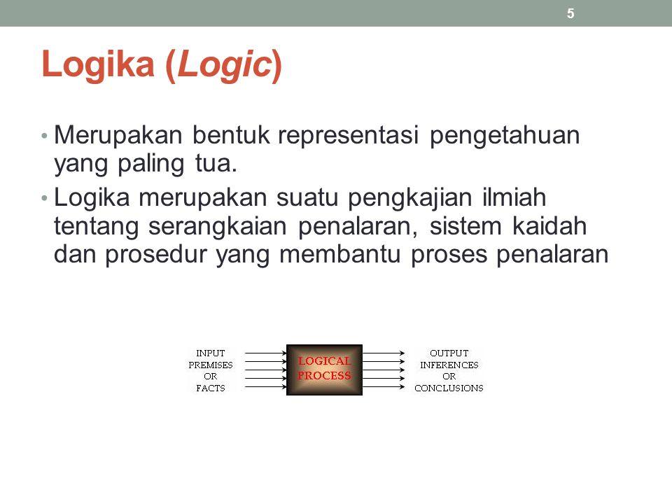 Logika (Logic) Merupakan bentuk representasi pengetahuan yang paling tua.