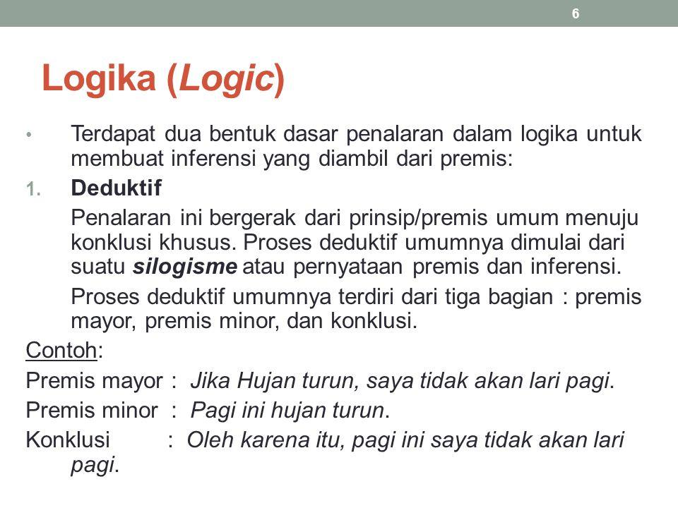 Logika (Logic) Terdapat dua bentuk dasar penalaran dalam logika untuk membuat inferensi yang diambil dari premis: