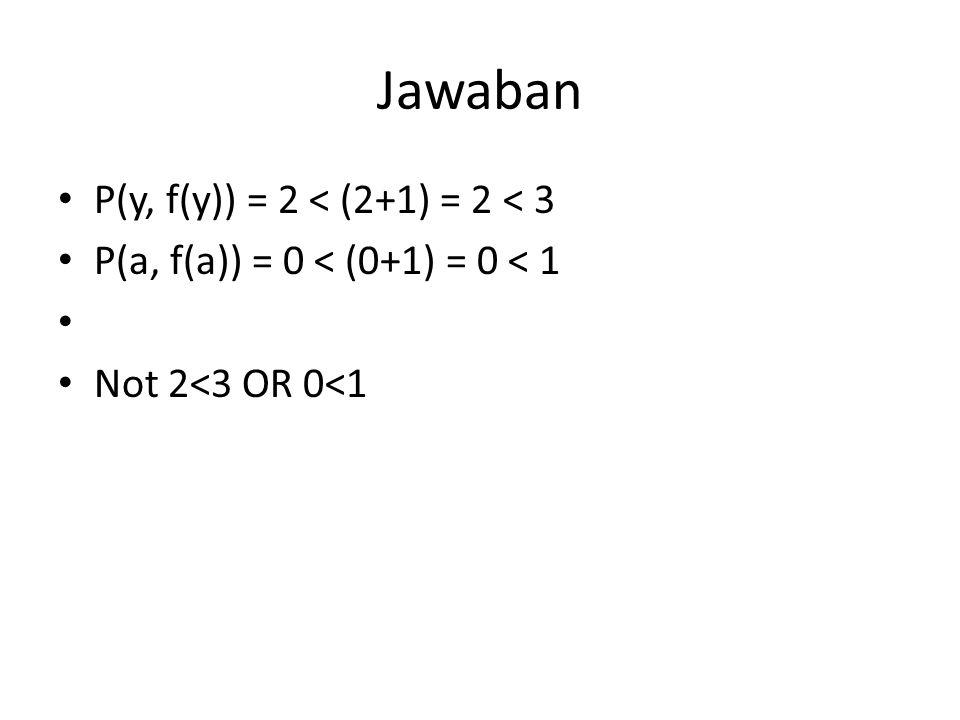 Jawaban P(y, f(y)) = 2 < (2+1) = 2 < 3