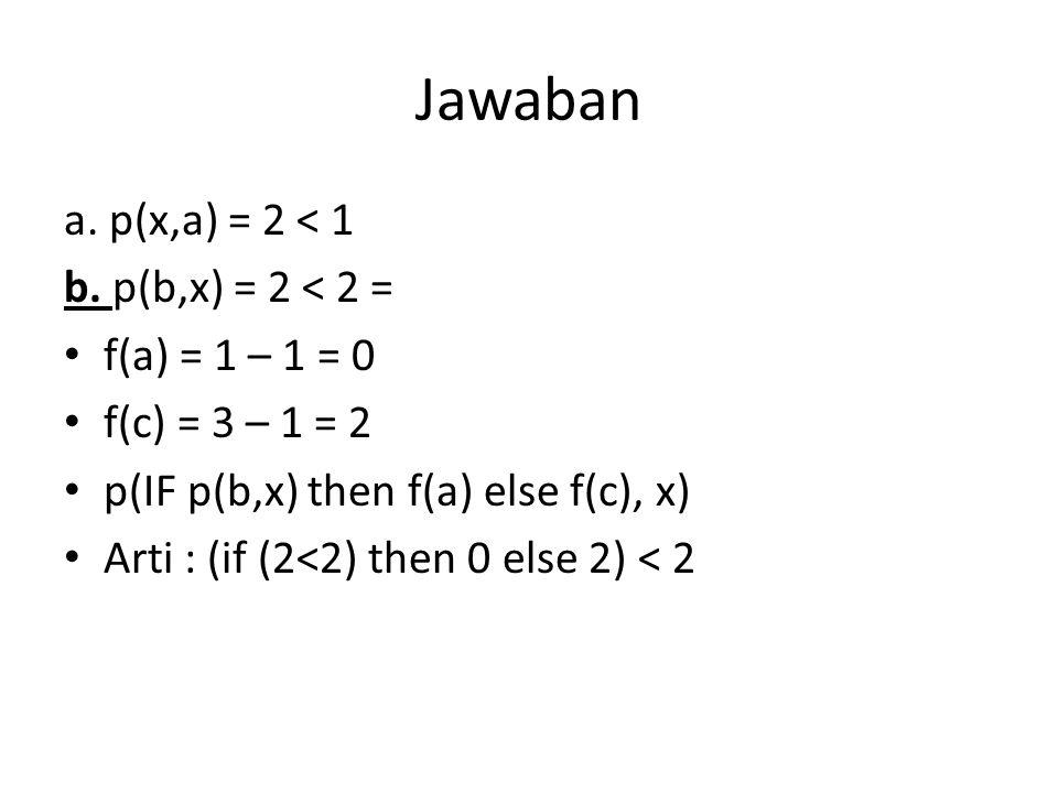 Jawaban a. p(x,a) = 2 < 1 b. p(b,x) = 2 < 2 = f(a) = 1 – 1 = 0