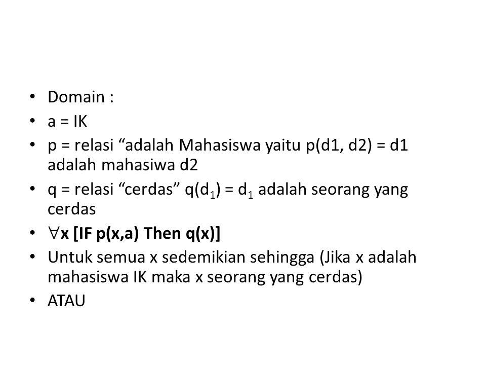 Domain : a = IK. p = relasi adalah Mahasiswa yaitu p(d1, d2) = d1 adalah mahasiwa d2. q = relasi cerdas q(d1) = d1 adalah seorang yang cerdas.