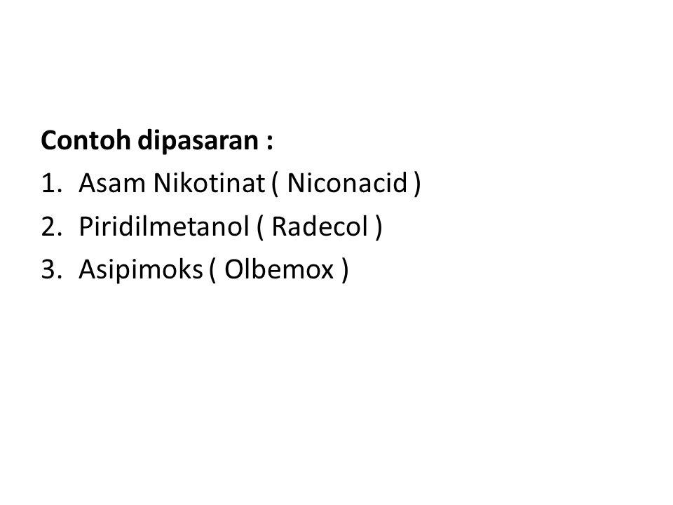 Contoh dipasaran : Asam Nikotinat ( Niconacid ) Piridilmetanol ( Radecol ) Asipimoks ( Olbemox )