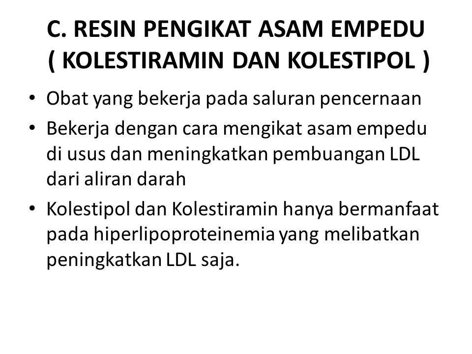C. RESIN PENGIKAT ASAM EMPEDU ( KOLESTIRAMIN DAN KOLESTIPOL )