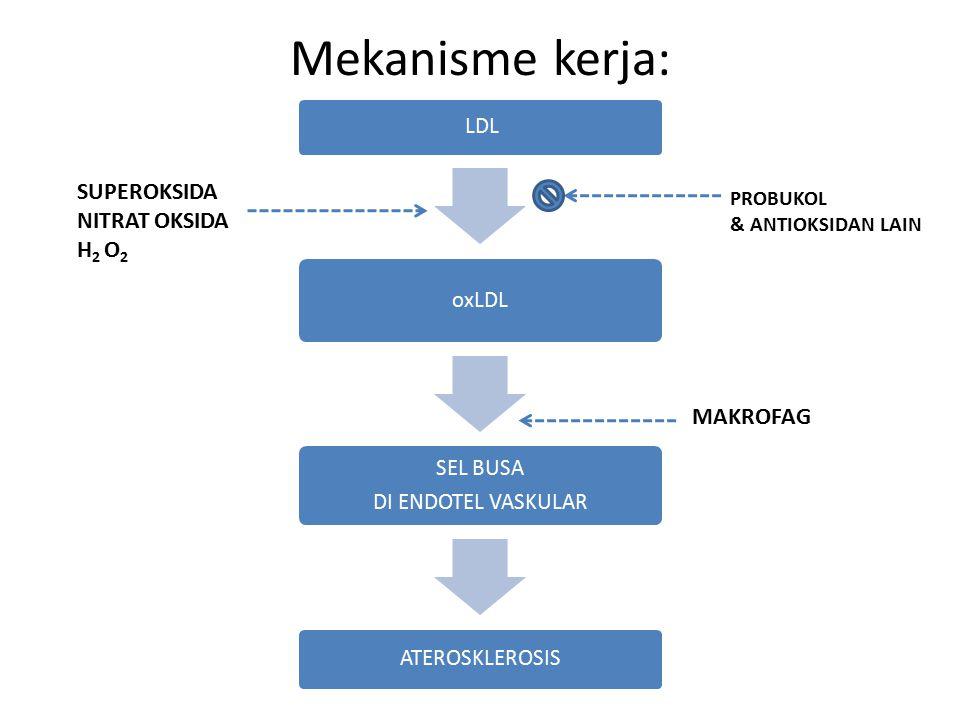 Mekanisme kerja: SUPEROKSIDA NITRAT OKSIDA H2 O2 MAKROFAG PROBUKOL