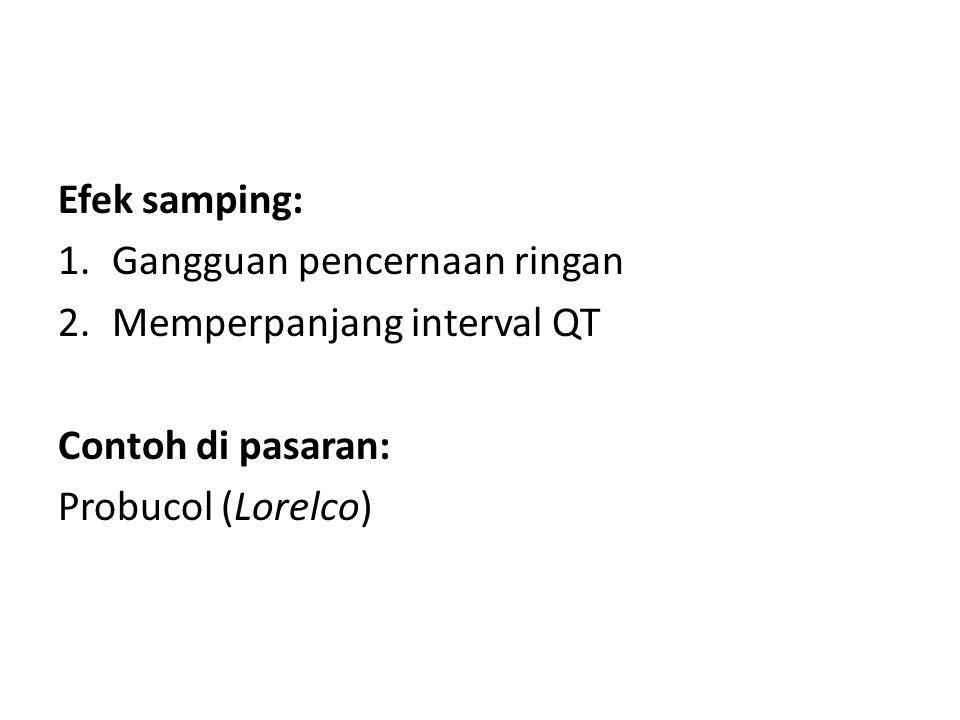 Efek samping: Gangguan pencernaan ringan. Memperpanjang interval QT.