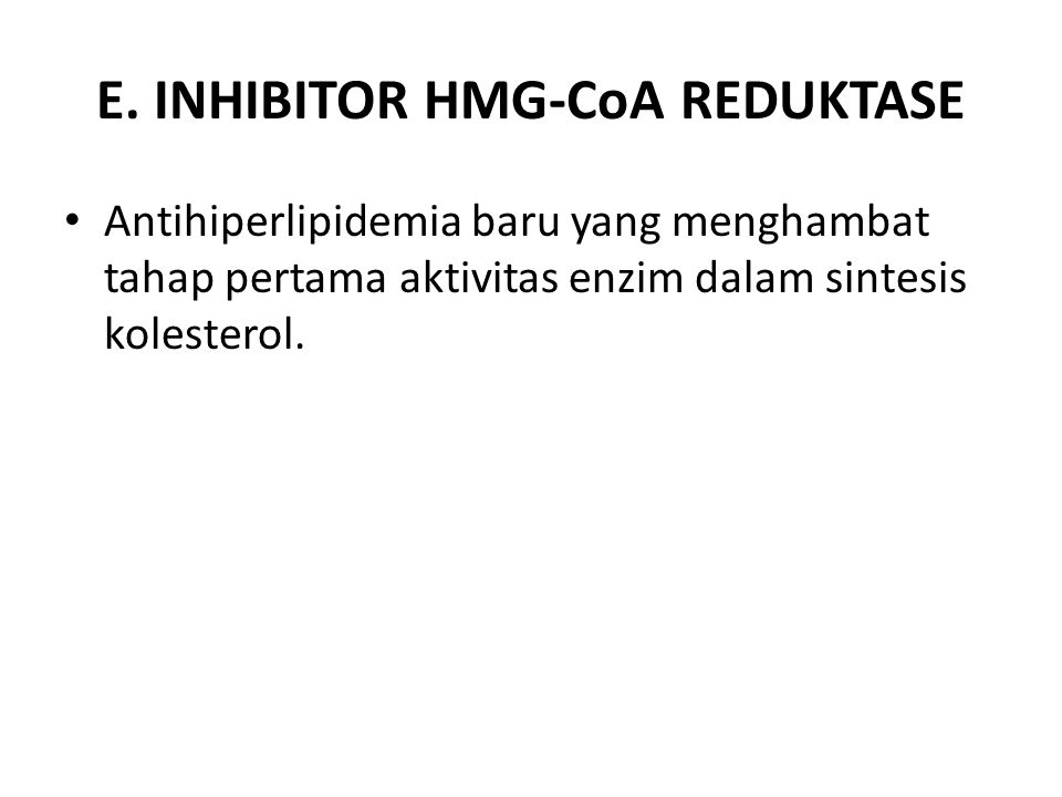 E. INHIBITOR HMG-CoA REDUKTASE