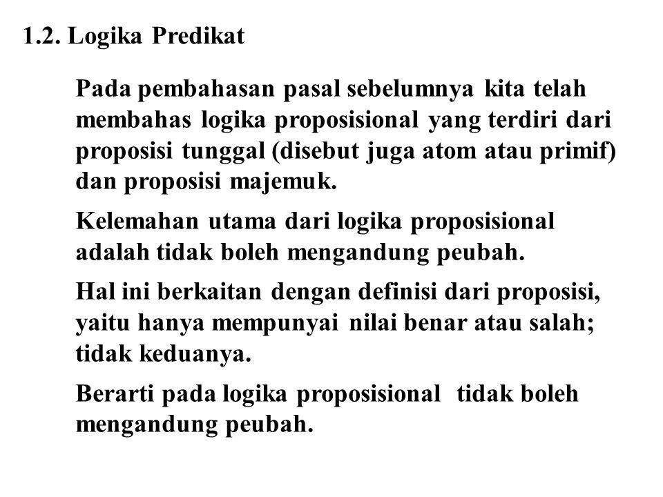 1.2. Logika Predikat Pada pembahasan pasal sebelumnya kita telah. membahas logika proposisional yang terdiri dari.