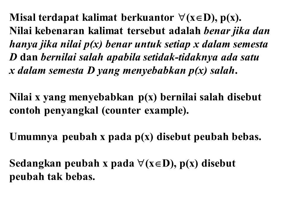 Misal terdapat kalimat berkuantor (xD), p(x).
