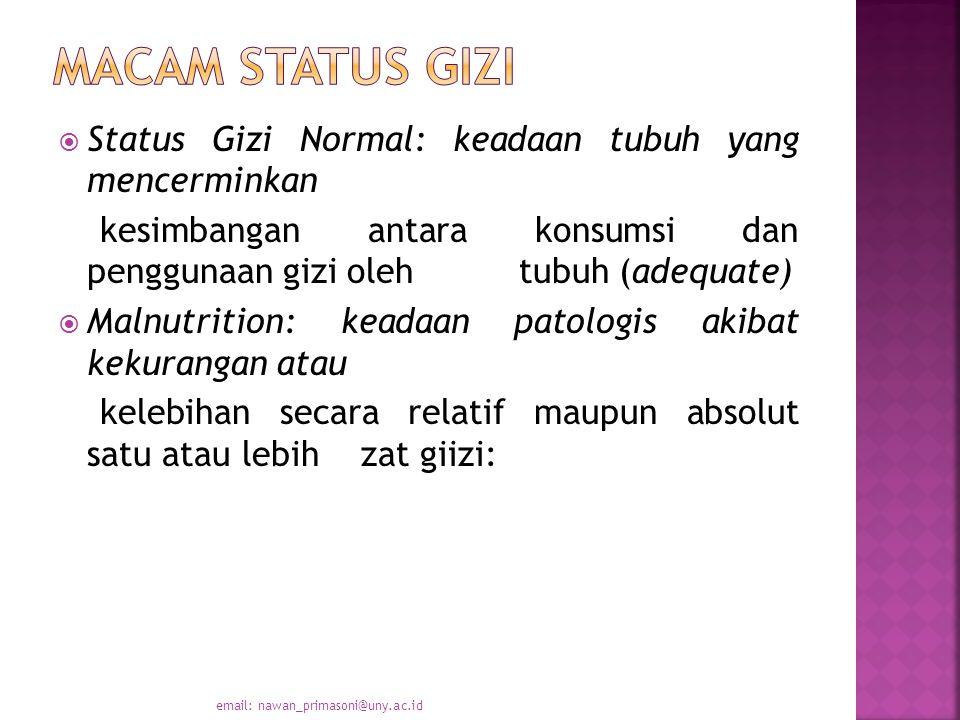 Macam status gizi Status Gizi Normal: keadaan tubuh yang mencerminkan