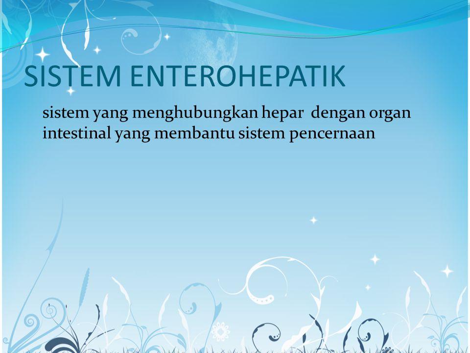 SISTEM ENTEROHEPATIK sistem yang menghubungkan hepar dengan organ intestinal yang membantu sistem pencernaan.