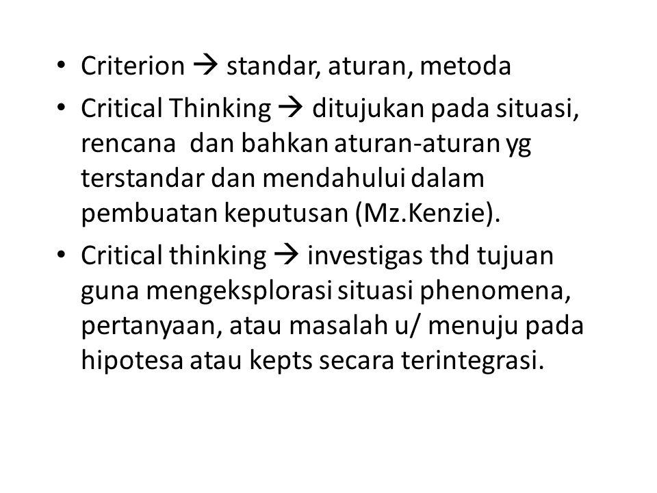 Criterion  standar, aturan, metoda