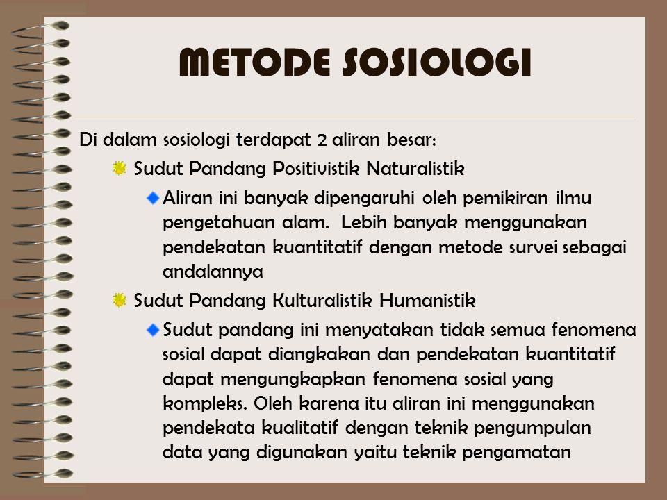 METODE SOSIOLOGI Di dalam sosiologi terdapat 2 aliran besar: