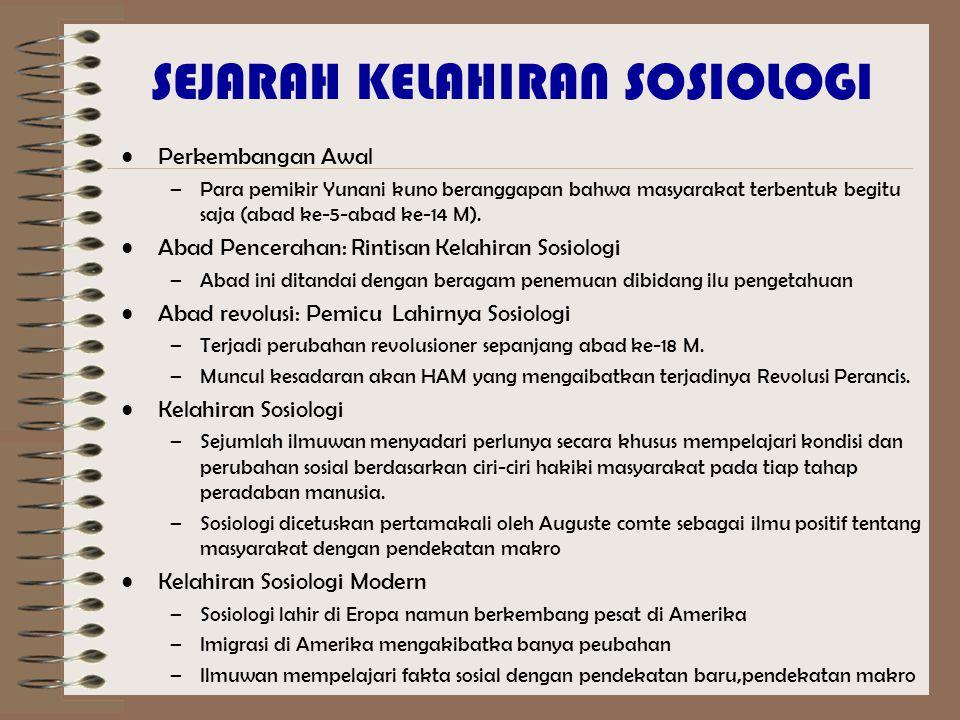 SEJARAH KELAHIRAN SOSIOLOGI