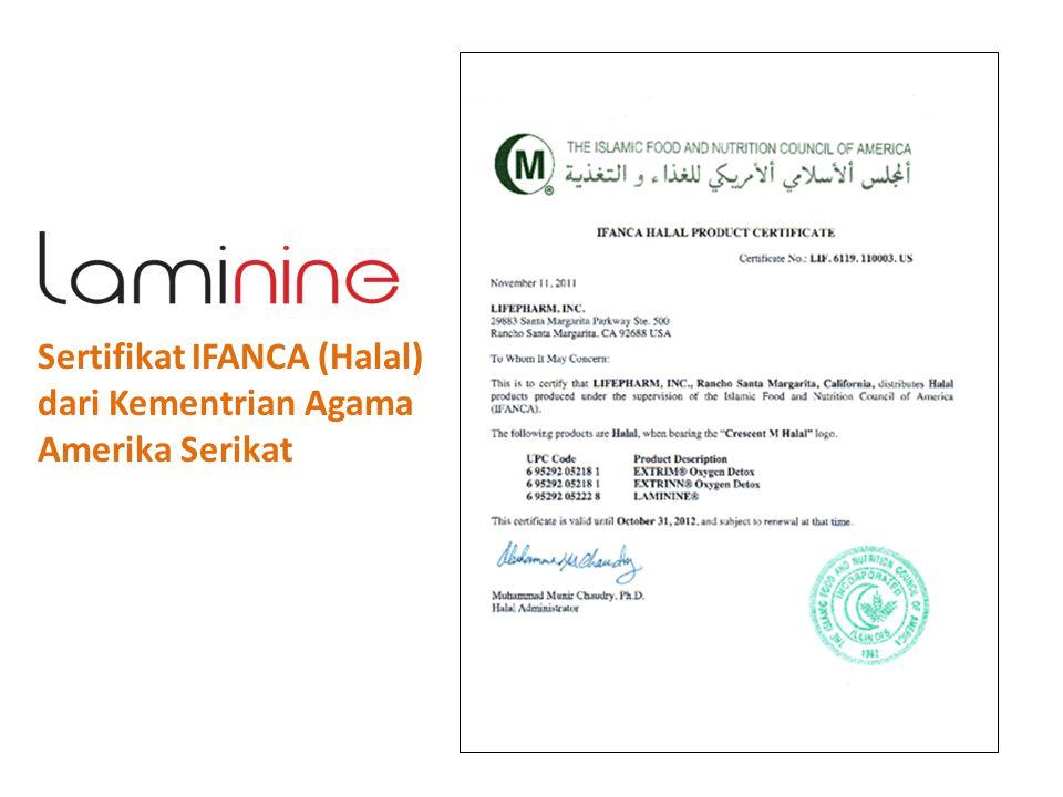 Sertifikat IFANCA (Halal) dari Kementrian Agama