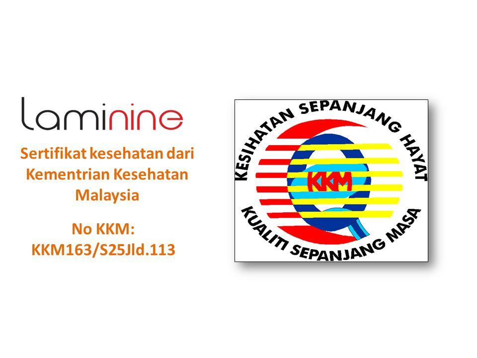 Sertifikat kesehatan dari Kementrian Kesehatan Malaysia