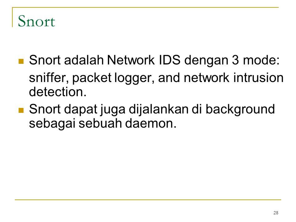 Snort Snort adalah Network IDS dengan 3 mode: