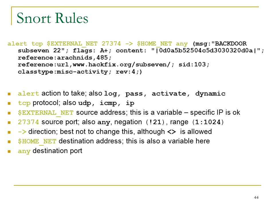 Snort Rules alert action to take; also log, pass, activate, dynamic