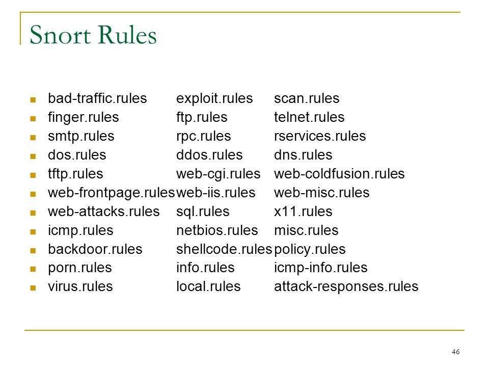 Snort Rules bad-traffic.rules exploit.rules scan.rules
