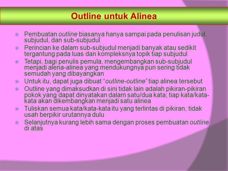 Outline untuk Alinea Pembuatan outline biasanya hanya sampai pada penulisan judul, subjudul, dan sub-subjudul.