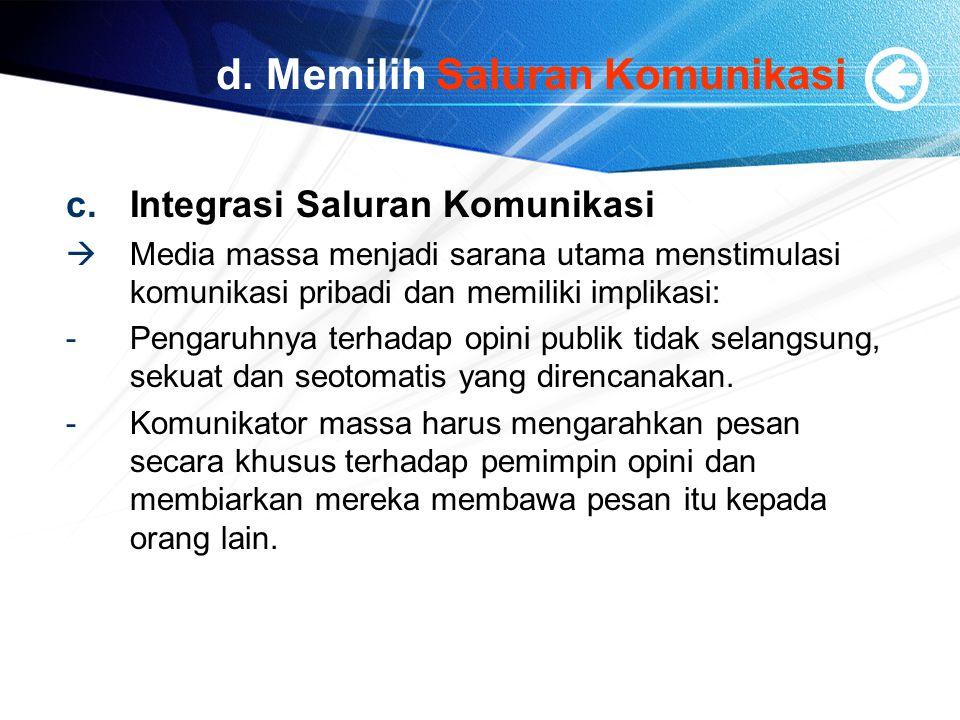 d. Memilih Saluran Komunikasi