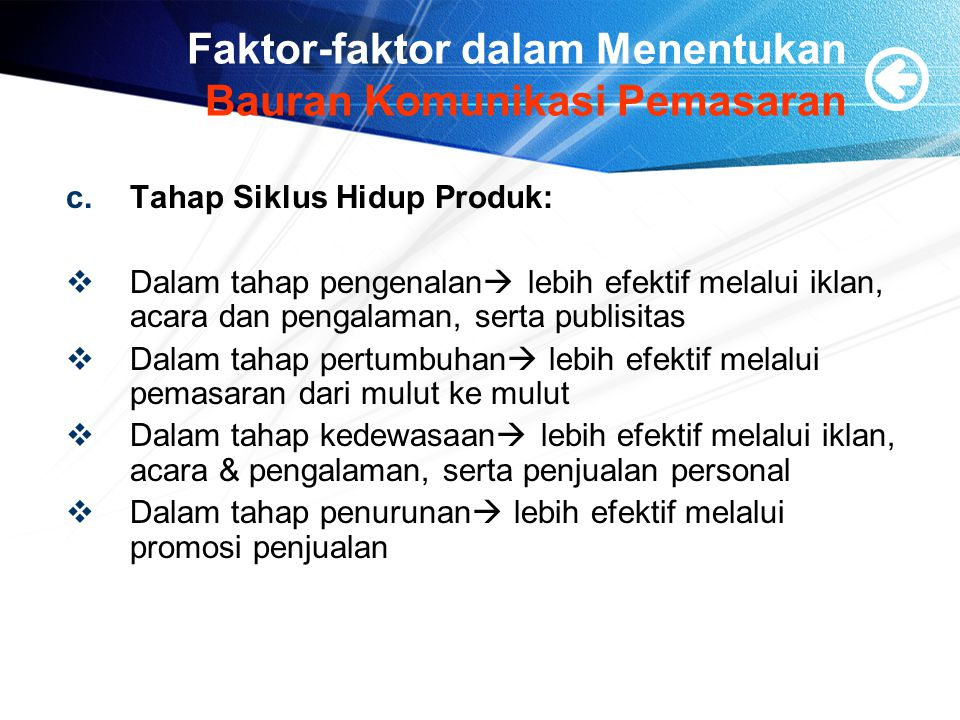 Faktor-faktor dalam Menentukan Bauran Komunikasi Pemasaran