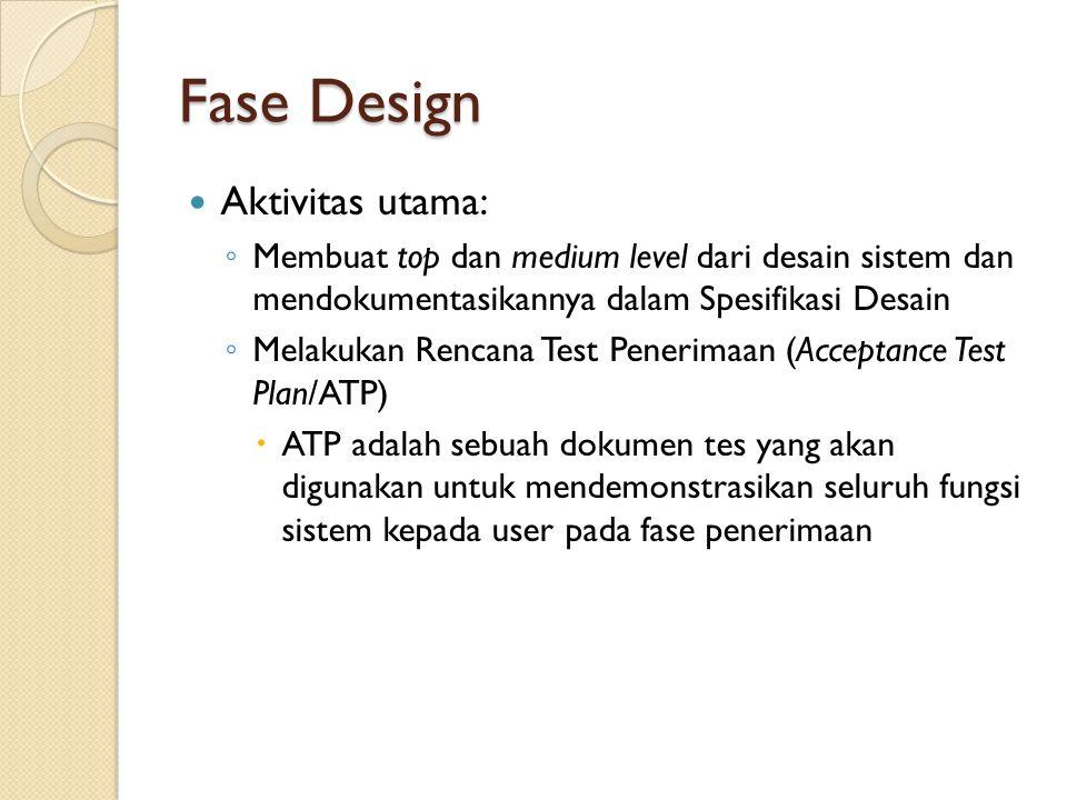 Fase Design Aktivitas utama: