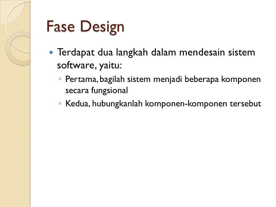 Fase Design Terdapat dua langkah dalam mendesain sistem software, yaitu: Pertama, bagilah sistem menjadi beberapa komponen secara fungsional.