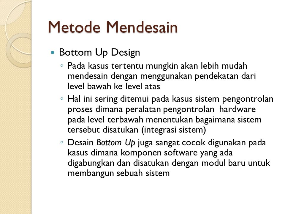 Metode Mendesain Bottom Up Design