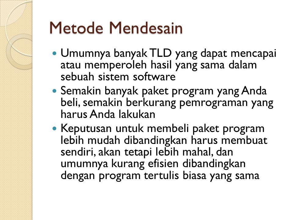 Metode Mendesain Umumnya banyak TLD yang dapat mencapai atau memperoleh hasil yang sama dalam sebuah sistem software.