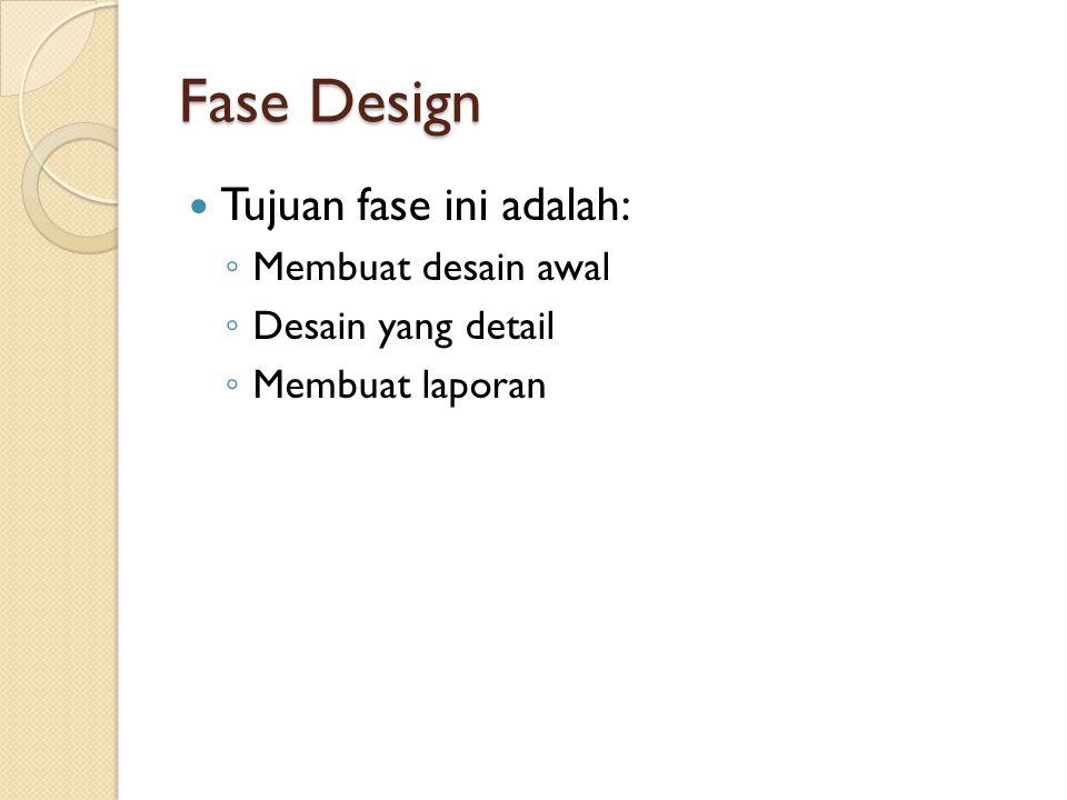 Fase Design Tujuan fase ini adalah: Membuat desain awal