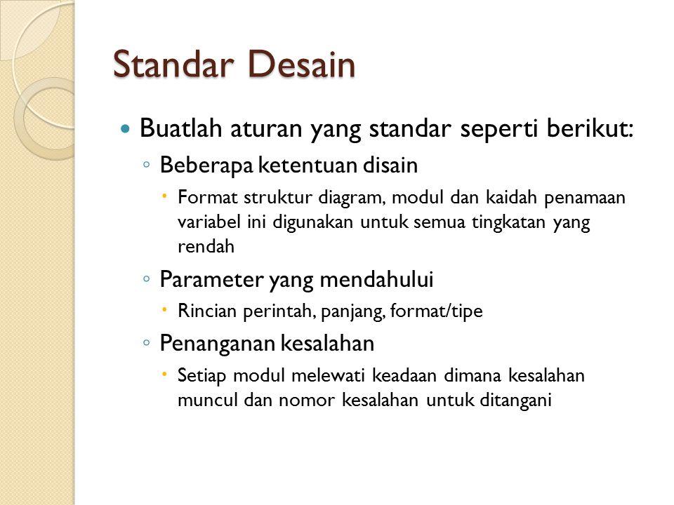 Standar Desain Buatlah aturan yang standar seperti berikut:
