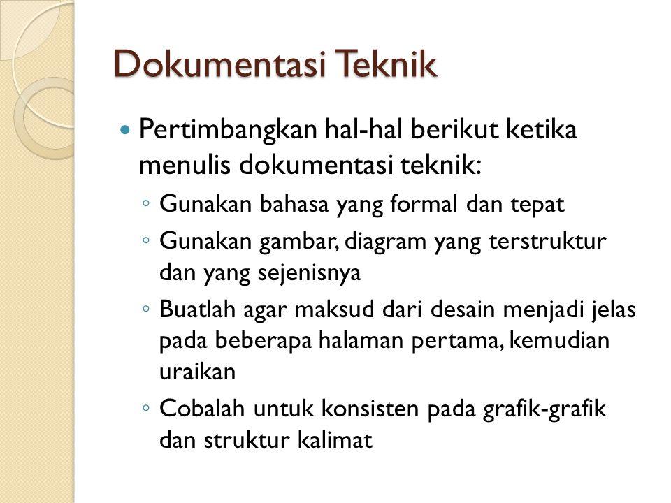 Dokumentasi Teknik Pertimbangkan hal-hal berikut ketika menulis dokumentasi teknik: Gunakan bahasa yang formal dan tepat.