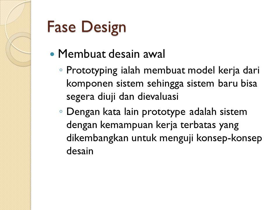 Fase Design Membuat desain awal