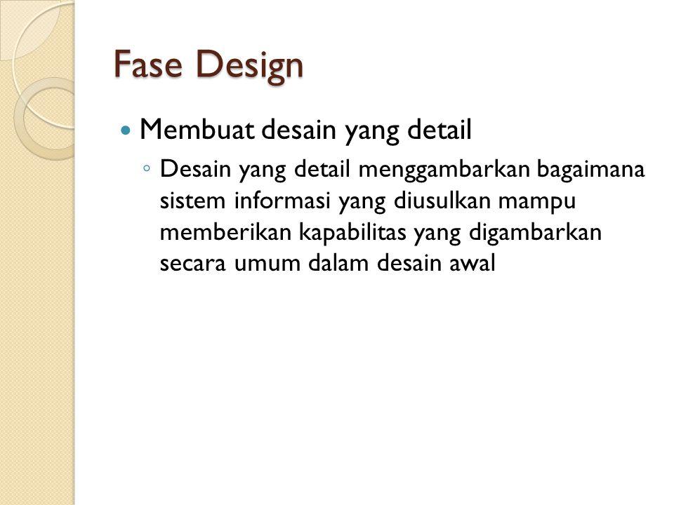Fase Design Membuat desain yang detail
