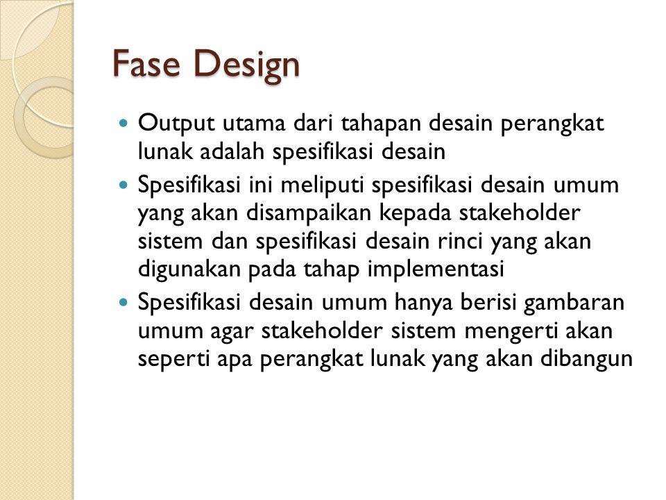 Fase Design Output utama dari tahapan desain perangkat lunak adalah spesifikasi desain.