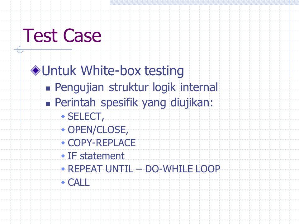 Test Case Untuk White-box testing Pengujian struktur logik internal