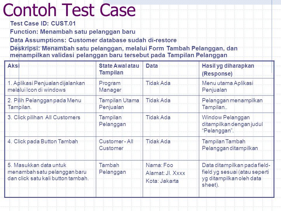 Contoh Test Case Test Case ID: CUST.01