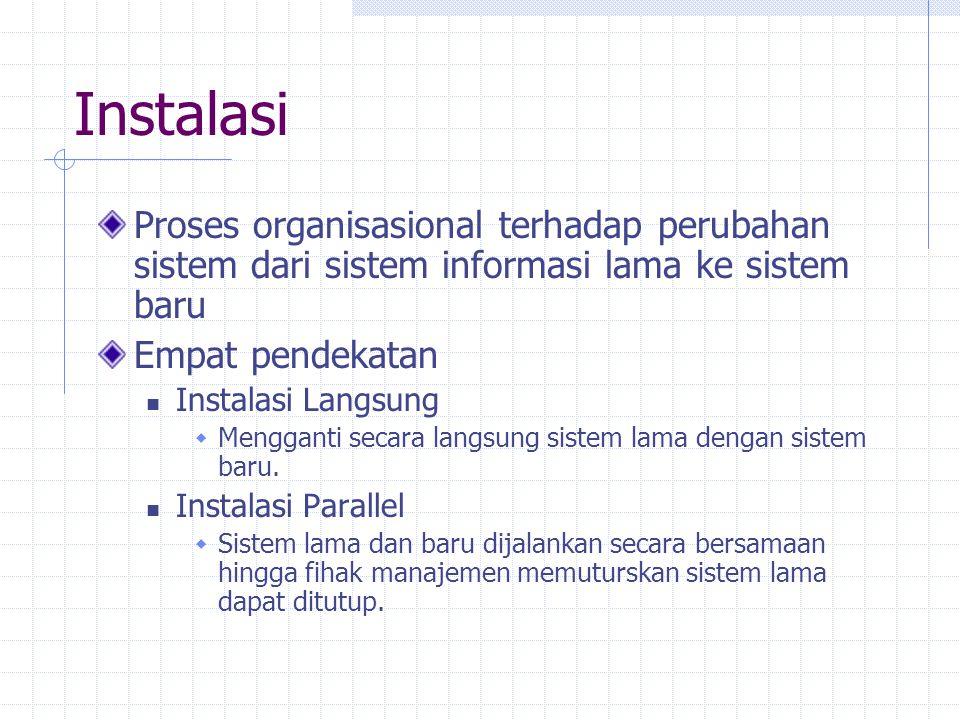 Instalasi Proses organisasional terhadap perubahan sistem dari sistem informasi lama ke sistem baru.