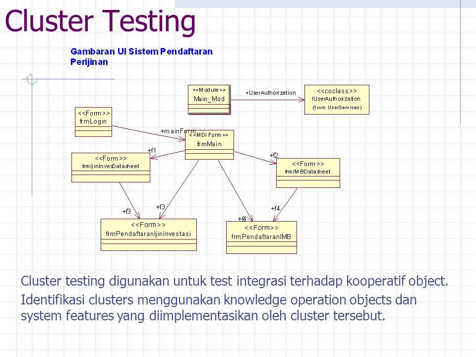 Cluster Testing Cluster testing digunakan untuk test integrasi terhadap kooperatif object.