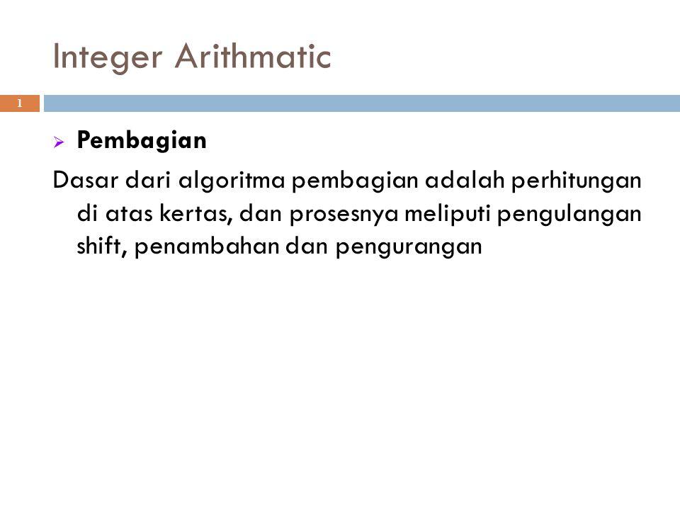 Integer Arithmatic Pembagian