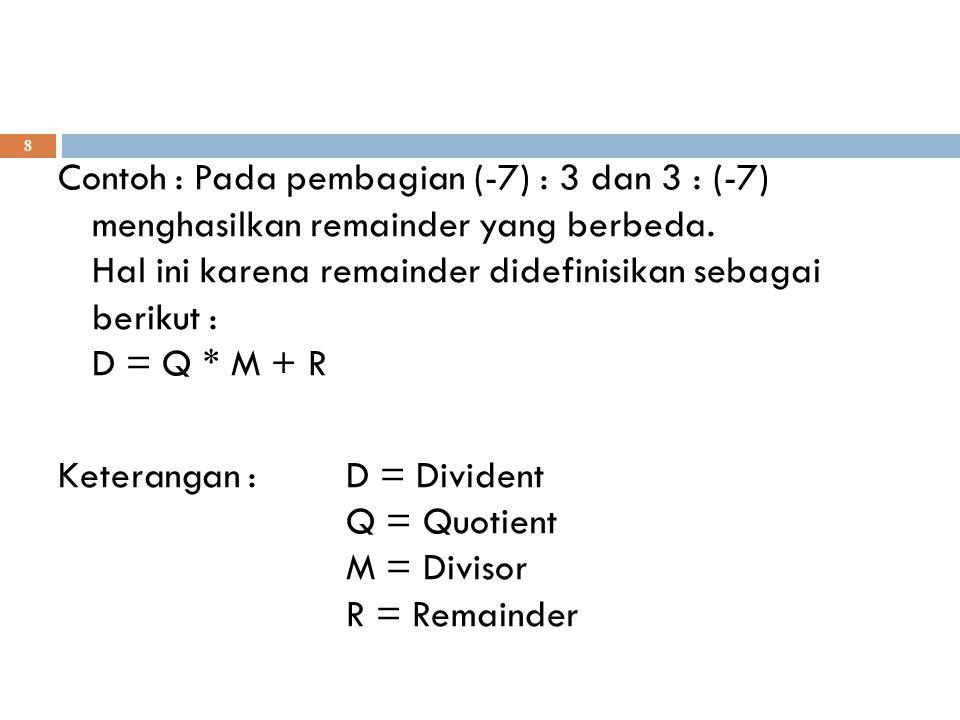 Contoh : Pada pembagian (-7) : 3 dan 3 : (-7) menghasilkan remainder yang berbeda.