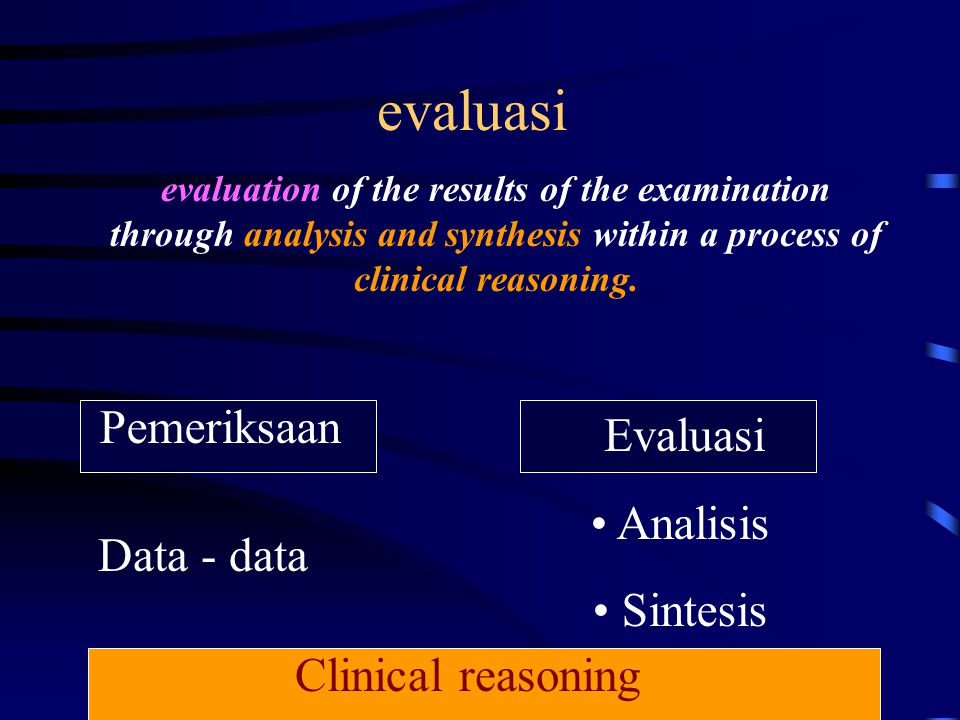 evaluasi Pemeriksaan Evaluasi Analisis Sintesis Data - data