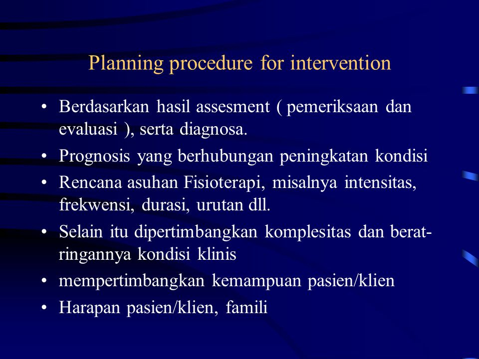 Planning procedure for intervention