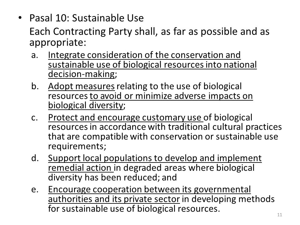 Pasal 10: Sustainable Use