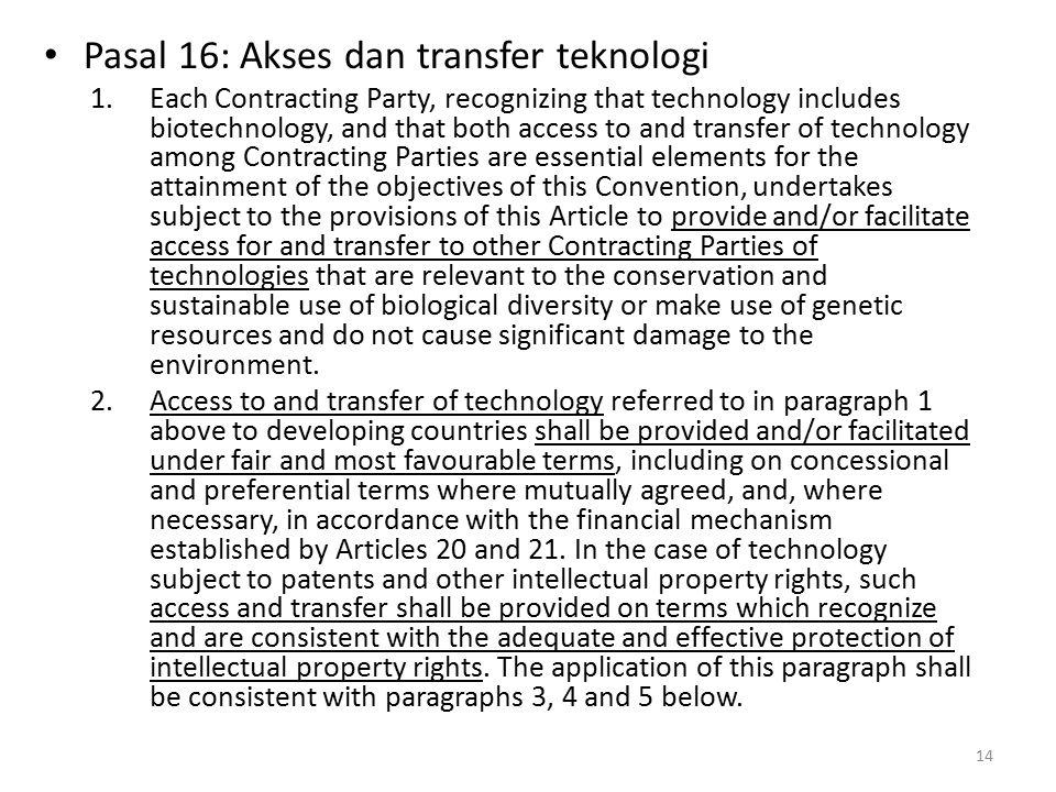 Pasal 16: Akses dan transfer teknologi
