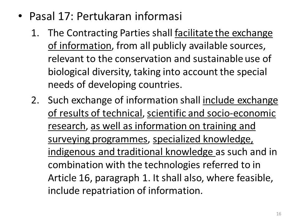 Pasal 17: Pertukaran informasi