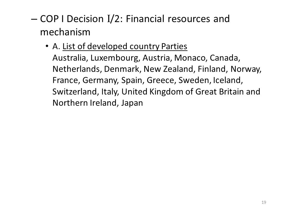 COP I Decision I/2: Financial resources and mechanism