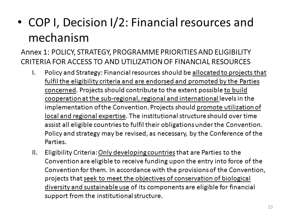 COP I, Decision I/2: Financial resources and mechanism